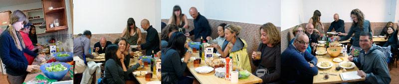 Jantar comunitário no albergue em Carrión de los Condes.