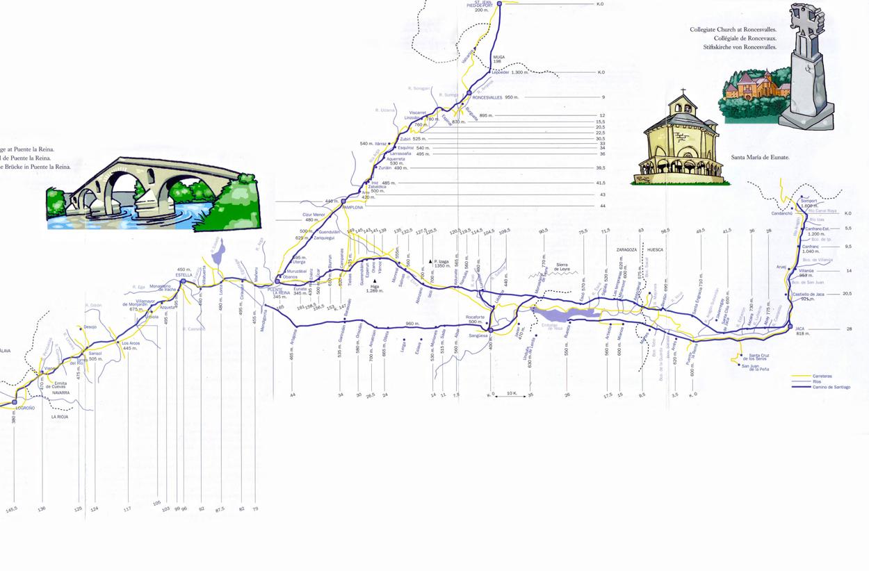 Mapa do Caminho de Santiago de Compostela